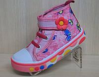 """Яркие кеды для девочки """"Libang"""", красивая текстильная обувь, высокие кеды, фото 1"""
