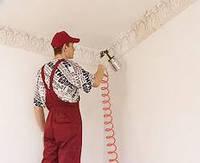 Окраска потолков с помощью краскопульта декоративными красками