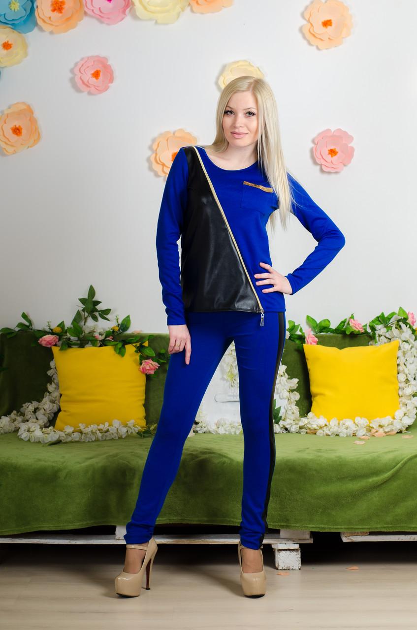 Костюм  комбинированный с кожей синий