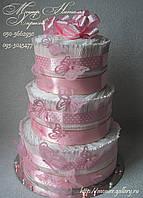 """Торт из памперсов """"Розовые бабочки!"""". Подарок новорожденной девочке."""