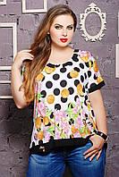 Блуза больших размеров с оригинальной спинкой Катрин белая
