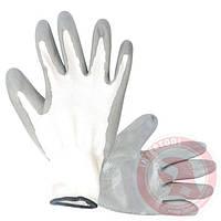 """Перчатки с нитриловым покрытием 10"""" (бело-серая) 12шт/уп INTERTOOL"""
