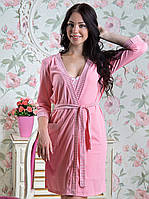 "Нежно-розовый женский халат на запах ""Романтика"""