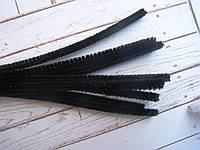 Синельная пушистая проволока, 30 см, цвет черный, фото 1