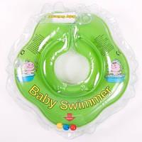 Круг для купания младенцев салатовый с погремушками  Baby swimmer 3-12кг