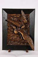 Настенная резная картина из дерева дуба Орел с цаплей