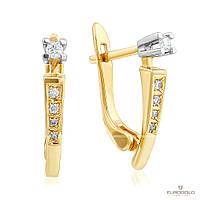 Эдем Золотые серьги c бриллиантом с7411
