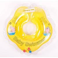 Круг для купания младенцев желтый с погремушками  Baby swimmer 3-12кг