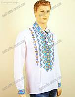 Мужская  вышитая сорочка крестиком с орнаментом. Рубашечный ворот.  лен