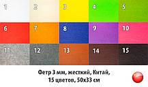 Фетр жорсткий 3 мм в наборі 15 кольорів, Китай, 50х33 см