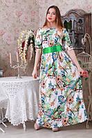 Длинное платье в пол с поясом цветочный принт Расцветки р.44-46