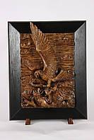 Настенная резная картина из дерева дуба Орел с лисой