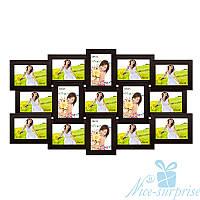 Фоторамка Елизавета на 15 фотографий 10х15, антибликовое стекло (чёрный)