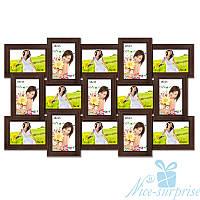Фоторамка Классическая на 15 фотографий 10х15, антибликовое стекло (Венге)