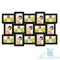 Фоторамка Классическая на 15 фотографий 10х15, антибликовое стекло (чёрный)