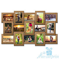 Фоторамка Классическая на 15 фотографий 10х15, брашированная, антибликовое стекло (светлое дерево)