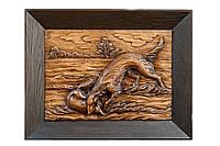 Настенная резная картина из дерева дуба Охота на лисицу