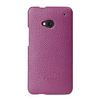 Кожаный чехол накладка Melkco для HTC One M7 Purple