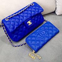 Сумка Chanel синяя на цепочке