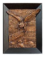 Настенная резная картина из дерева дуба Сова и мышь
