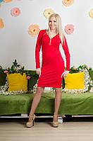 Платье удлиненное красное, фото 1