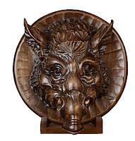 Настенная декоративная резная тарелка Кабан из дерева ореха