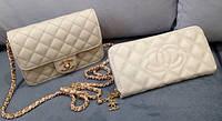 Сумка клатч через плечо Chanel кремовая с золотом