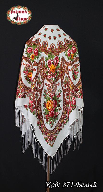 Женский белый павлопосадский платок Виталина