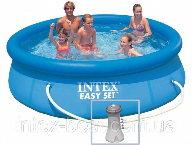 Надувной бассейн Intex  28142 с надувным верхним кольцом + фильтр-насос (396х84см), фото 2