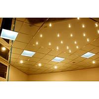 Подвесной потолок из металлических панелей. Золото