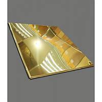 Потолок подвесной металлические кассеты. Золото