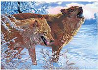 """Схема для частичной вышивки бисером """"Волчья пара"""""""