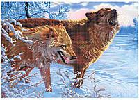 """Схема для частичной вышивки бисером - """"Волчья пара А"""""""