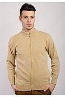 Модная мужская кофта из приятного материала на замке горчичная, светло-серая