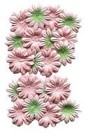 Цветочки из шелковичной бумаги, Персиковый-зеленым