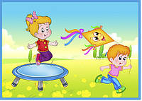"Стенд для детского сада ""На батуте"""