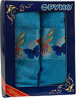 Набор махровых кухонных полотенец голубой Руно 3шт.