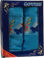 Набор махровых кухонных полотенец голубой Руно 4шт.