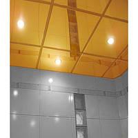Подвесной потолок металлический кассетный. Супер золото