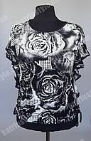 """Чёрно-белая женская тонкая блузка  """"Роза"""" оригинального кроя"""