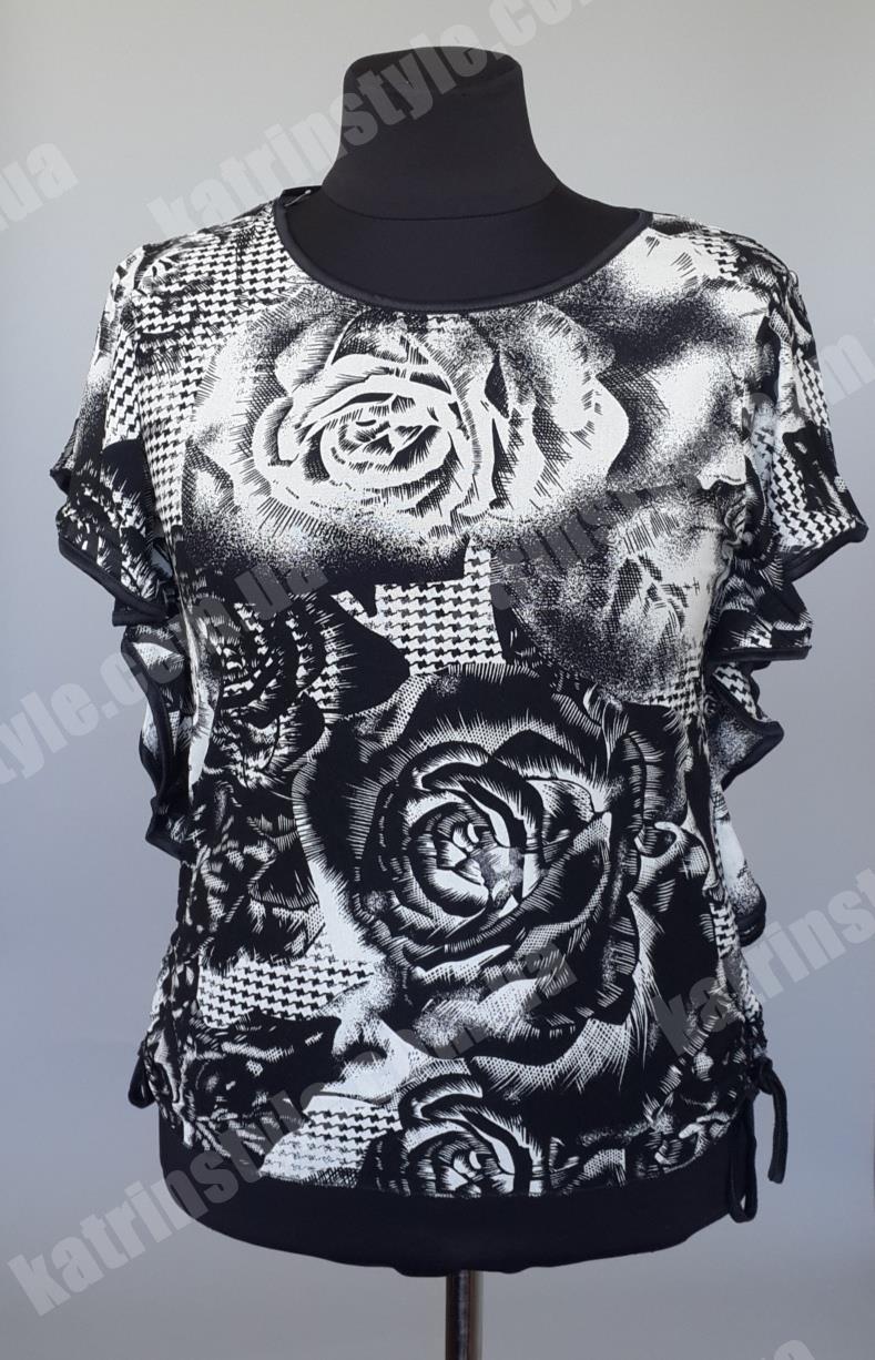 """Чёрно-белая женская тонкая блузка  """"Роза"""" оригинального кроя  - Интернет-магазин """"KatrinStyle"""" в Хмельницком"""