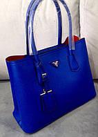 Сумка Prada синяя, женская сумка прада из эко кожи