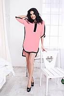 Розовое свободное платье-рубашка. Арт-5374/54