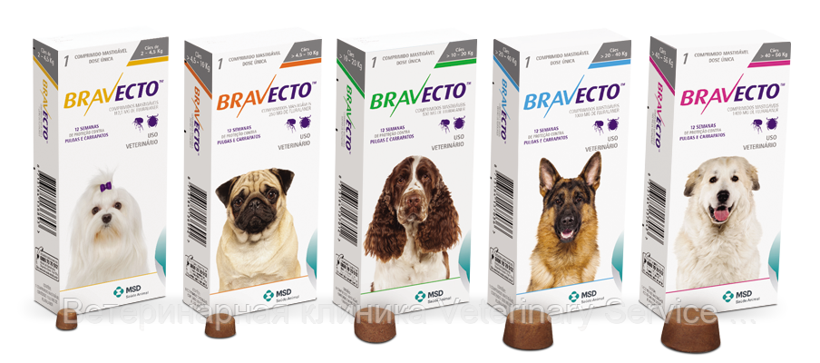 Bravecto (цена зависит от дозировки)
