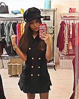 Короткое чёрное коттоновое платье с пуговицами. Арт-5375/54