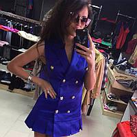 Короткое синее коттоновое платье с пуговицами. Арт-5375/54