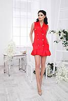 Короткое красное коттоновое платье с пуговицами. Арт-5375/54