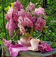 Алмазная вышивка Романтичная сирень и чашка чая KLN 30*30 см (арт. FS124)