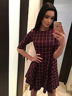 Стильное платье в клеточку юбка клёш. Арт-5377/54