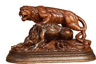 Эксклюзивная деревянная статуэтка Тигр с кабаном ручной работы